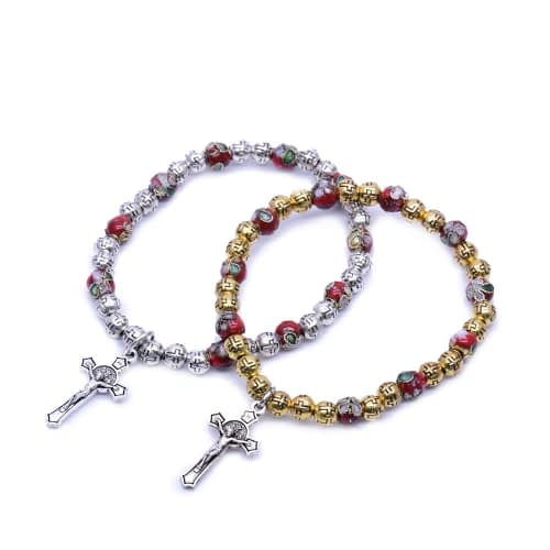 Cross beads Cloisonne Beaded Stretch Rosary Bracelet with Crucifix Home [tag]