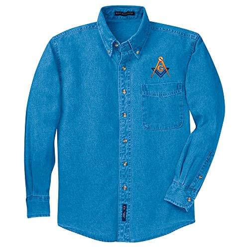 Mason Denim Shirt Freemason Masonic Dress Shirt Home 2b1ask1