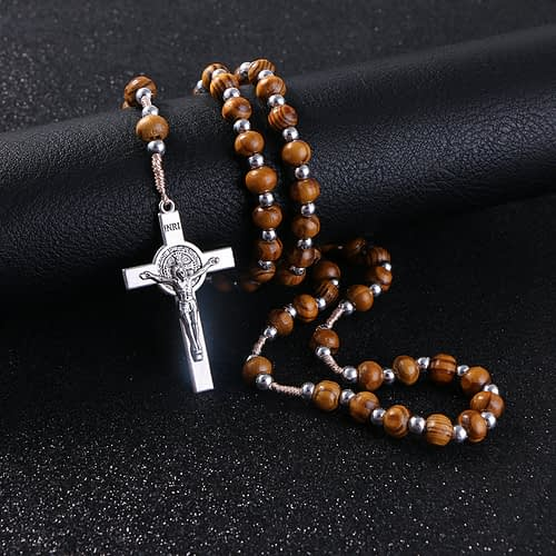 Rosary Wooden Necklace High Quality Beads Necklace Cross Pendant Home [tag]